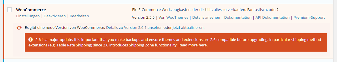 WooCommerce 2.6 Update Warnung